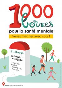 1000 BORNES EN 21 JOURS SUR LES GR DE WALLONIE ET BRUXELLES  POUR LA SANTÉ MENTALE ET LE BIEN-ÊTRE